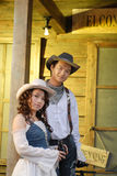 Western cowboy. Attractive couple in western cowboy attire Stock Photos