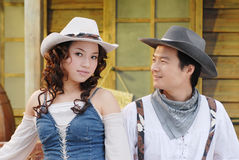 Western cowboy. Attractive couple in western cowboy attire Stock Image