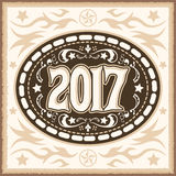 2017 western cowboy belt buckle vector illustration Royalty Free Stock Photography