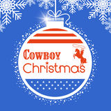 Western Cowboy christmas card background with American flag deco Stock Photography