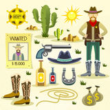 Western cowboy flat icons set Royalty Free Stock Images