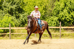 Western cowgirl woman riding horse. Sport activity. Active western cowgirl woman in hat training riding horse. American girl in countryside ranch. Horseback stock photos