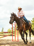 Western cowgirl woman training riding horse. Sport. Active western cowgirl woman training riding horse jumping over fence. Equestrian sport competition and Stock Images
