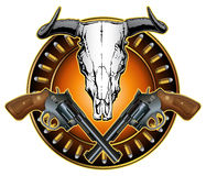 Western Crossed Pistols and Skull Design Stock Images