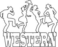 Country-western Dance Silhouette Banner Stock Vector ...