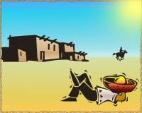 Western desert. Abstract illustration with desert silhouette stock illustration