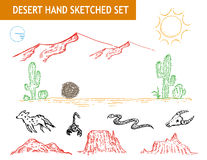 Western desert doodle set. Editable Clip art. royalty free illustration