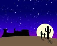 Western Desert Moonlight. Desert scene with cacti and skull at night royalty free illustration