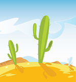 Western Desert With Cactus Plants Stock Image