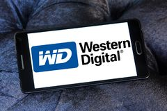Western Digital Corporation logo. Logo of Western Digital Corporation on samsung mobile. Western Digital Corporation is an American computer data storage company Stock Image