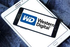 Western Digital Corporation logo. Logo of Western Digital Corporation on samsung mobile on samsung tablet. Western Digital Corporation is an American computer Stock Photo