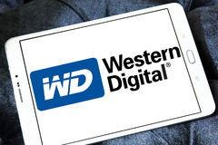 Western Digital Corporation logo. Logo of Western Digital Corporation on samsung tablet. Western Digital Corporation is an American computer data storage company royalty free stock photos
