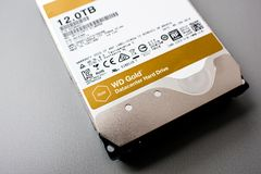 Western Digital Gold HDD disk drive 12 tb detail of. PARIS, FRANCE - FEB 15, 2018: Detail of the New Western Digital Gold HDD enterprise level 12 terabytes disk Stock Photography