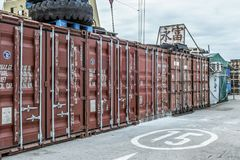 Western district cargo pier in Hong Kong. Western district cargo pier in HongKong stock photos