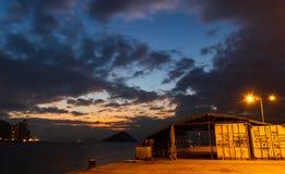 Western District Public Cargo Pier, Hong Kong. Panorama of Western District Public Cargo Pier, Hong Kong. With Beautiful sunset stock photo