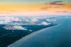 Western Dvina Flows Into Baltic Sea. River Divides Northern Stock Photography
