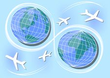 Western and Eastern Hemisphere, air paths and connections in world. Poster design for a travel agency, International Day of Aviati Royalty Free Stock Images