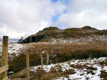 Western edge of Rosthwaite Fell, Lake District. Showing extensive fenced area in spring with snow still around royalty free stock photography