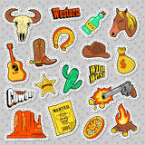 Western Elements Doodle. Wild West Stickers, Badges and Patches with Horse, Gun and Sheriff. Vector illustration Stock Photography