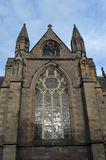 Western elevation of Episcopal Cathedral, Perth, Scotland. Western elevation of St Ninian's Episcopal Cathedral, Perth, Scotland, showing the west window, paid Royalty Free Stock Photo