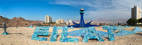 Western entrance to Eilat city, panoramic view,Israel Stock Photography