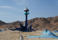 Western entrance to Eilat, Israel. Monument with stele, sculptures and fountain Stock Photos