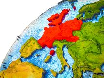 Western Europe on 3D Earth. Model with visible country borders. 3D illustration stock photography