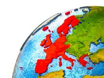 Western Europe on 3D Earth. Model with visible country borders. 3D illustration stock images