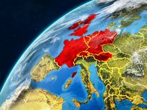 Western Europe on Earth with borders. Western Europe on realistic model of planet Earth with country borders and very detailed planet surface and clouds. 3D stock photos