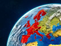 Western Europe on Earth with borders. Western Europe on realistic model of planet Earth with country borders and very detailed planet surface and clouds. 3D royalty free stock images