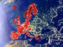 Western Europe on Earth at night. Western Europe from space on Earth at night. Very fine detail of the plastic planet surface with bright city lights. 3D stock image
