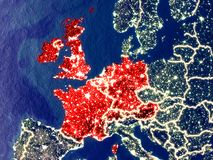 Western Europe on Earth at night. Western Europe from space on Earth at night. Very fine detail of the plastic planet surface with bright city lights. 3D royalty free stock images