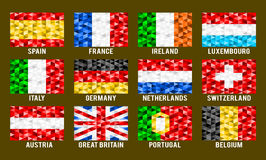 Western Europe low poly flags Royalty Free Stock Photography