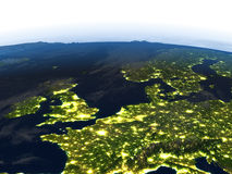 Western Europe at night on planet Earth Royalty Free Stock Photography