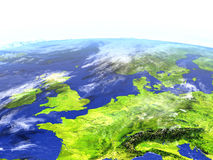 Western Europe on realistic model of Earth Royalty Free Stock Photos