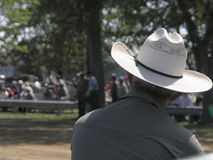Western Event Spectator. Rancher watches event stock images