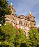 The western facade of Ksiaz castle with two towers in Walbrzych city, Poland. The castle was built in 1288-1292. It is today one of the city's main tourist stock images