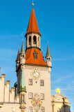 Western facing clock of the old town hall tower in Munich, Germany III Stock Images