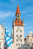 Western facing clock of the old town hall tower in Munich, Germany IV Royalty Free Stock Photos