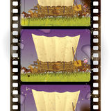 Western film strip. Vintage western film strip with an covered wagon in prairie. Vertical seamless pattern background. There is in addition a vector format (EPS Royalty Free Stock Photos