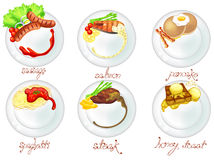 Western food and dessert in white dishes icon set Stock Photos