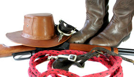 Western Gear. Some western type of accessories on a white background Stock Image
