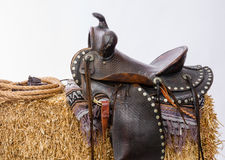 Western Gear Artist's Saddle Tack Gloves Rope Hay Bale Stock Photography