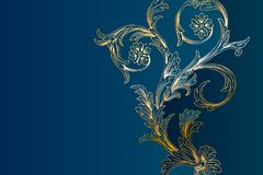 Western Golden And Light Blue Floral Background Template royalty free stock photo