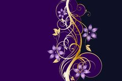Western Golden And Purple Floral Background Template.  stock illustration
