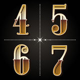 Western gradient alphabet letters vintage numbers vector 4,5,6, Royalty Free Stock Image