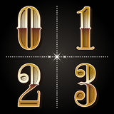 Western gradient alphabet letters vintage numbers vector 0,1,2, Royalty Free Stock Photography