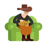 Western Grandmother cowboy and cat sitting on chair. Texan grann Stock Images