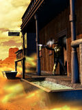 Western gunfight. Man shooting away, from the doors of a saloon in a an old western town close to the desert. Vertical image vector illustration