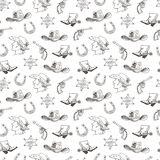 Western hand draw sketch vector seamless pattern. Stock Photography